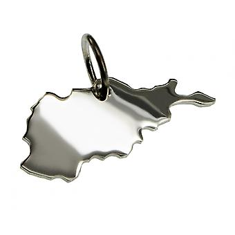 Trailer map AFGHANISTAN in solid 925 Silver Pendant