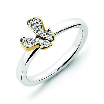 Sterling Silver Stackable Expressions Gold-plate Butterfly Dia. Ring - Ring Size: 5 to 10