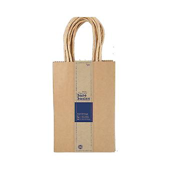 5 Papermania Small Natural Brown Kraft Gift Bags - Recycled Style