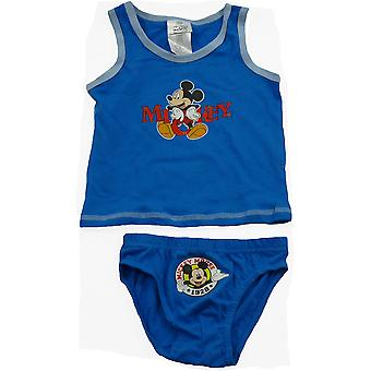 Boys Disney Mickey Mouse Sleeveless T-shirt / Vest & Briefs Set