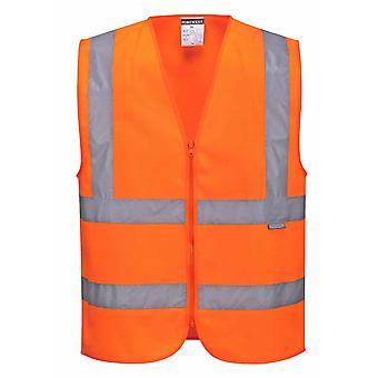 Portwest - Hi-Vis Sicherheit Arbeitskleidung gezippt Band & Klammer Weste