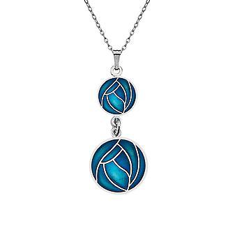Goed glas geëmailleerd Rhodium Plated Keltische dubbele Drop Mackintosh Rose ketting hanger - groenblauw