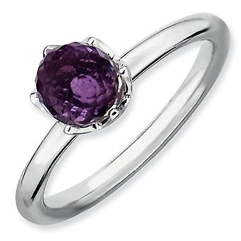 Sterling Silver Stackable Expressions Amethyst Briolette Ring - Ring Size: 5 to 10
