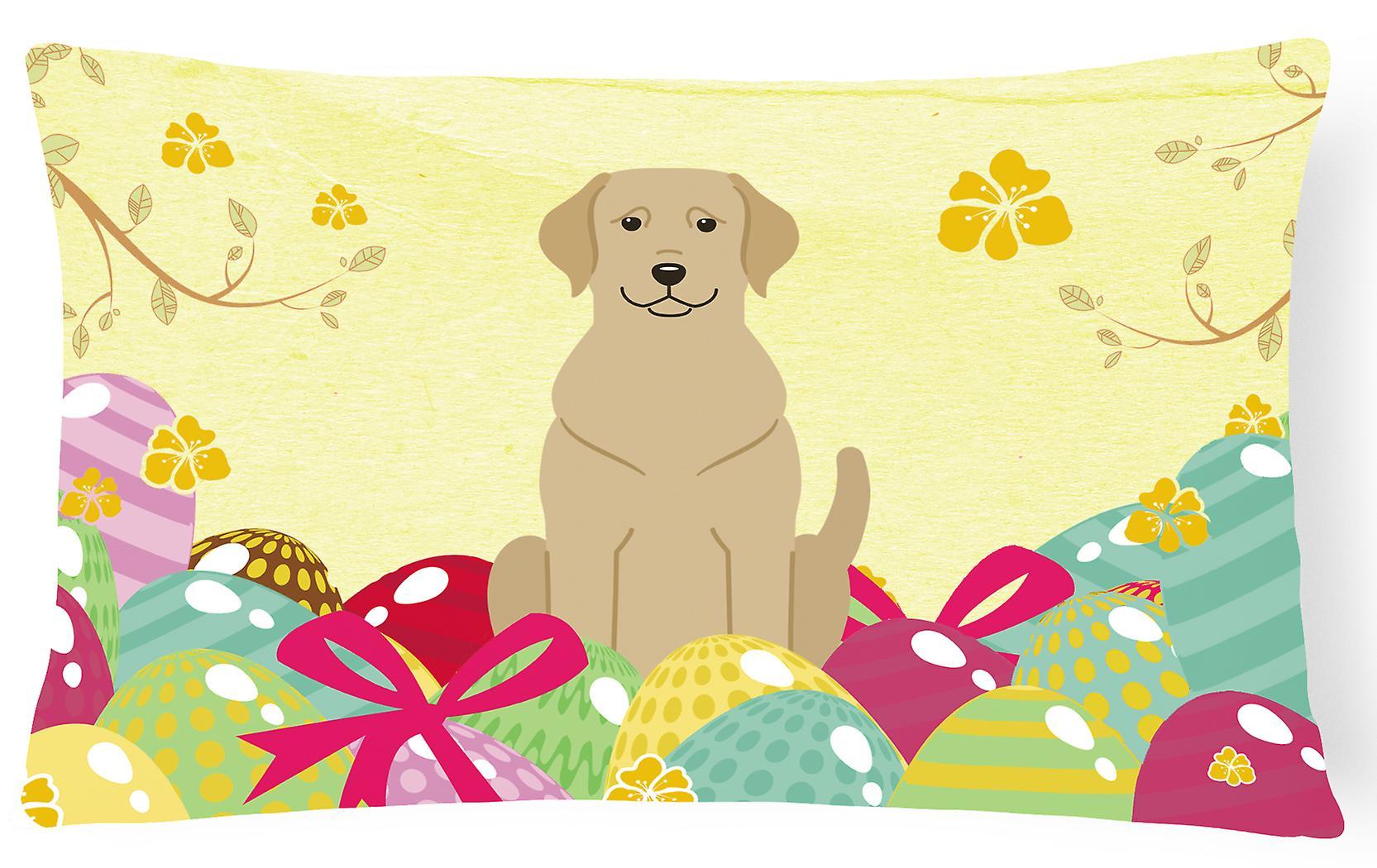 Décoratif Labrador Pâques Toile De Jaune Tissu Oeufs Oreiller tdshQrC