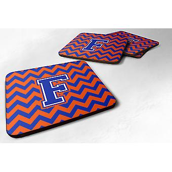 Set of 4 Letter F Chevron Orange and Blue Foam Coasters Set of 4