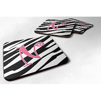 Set of 4 Monogram - Zebra Stripe and Pink Foam Coasters Initial Letter N