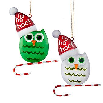 Kurt Adler Green and White Snowbird Owls in Santa Hats Ornaments Set of 2