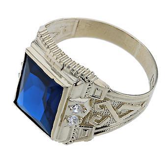 10 k Gelb Gold blau oder rot Farbe Stein CZ Zirkonia Ring (Größe 9)