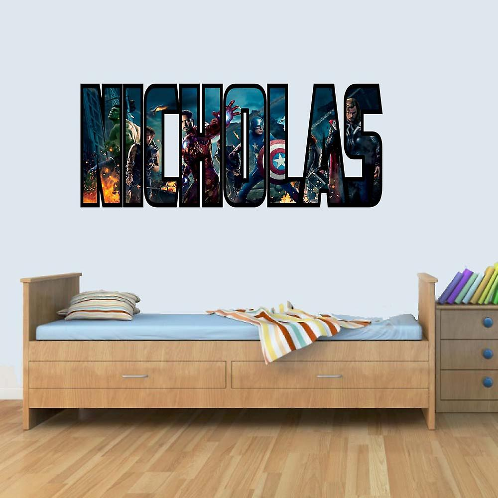 GNG Customisable Marvel Heroes Childrens Name Stickers Wall Art Decal Vinyl for Boys/Girls Bedroom