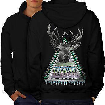 Triangle dans le dos Deer Men BlackHoodie | Wellcoda