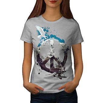 Peace Pigeon Cool Fashion Women GreyT-shirt | Wellcoda