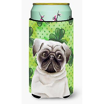 Carolines Treasures  CK1399TBC Pug Shamrocks Tall Boy Beverage Insulator Hugger