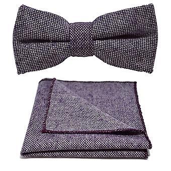 Highland tejido Stonewashed pajarita púrpura y conjunto Plaza de bolsillo
