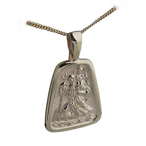 9ct Gold 31x25mm St Christopher Pendant with curb chain