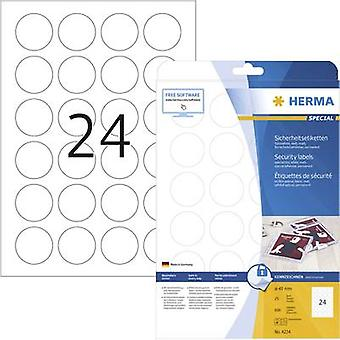 Herma 4234 Labels (A4) Ø 40 mm Film White 600 pc(s) Permanent Safety stickers, All-purpose labels Laser, Copier