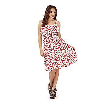 Pistachio, Ladies Frill Overlay Short Floral Dress , Red Poppy, One Size