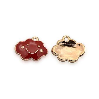 Packet 2 x Rose Gold/Red Enamel & Alloy 11 x 14mm Cloud Charm/Pendant YF0360