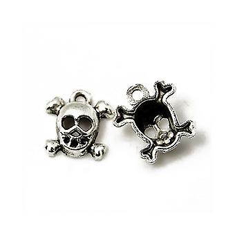 Packet 4 x Antique Silver Tibetan 14mm Skull Charm/Pendant ZX11130