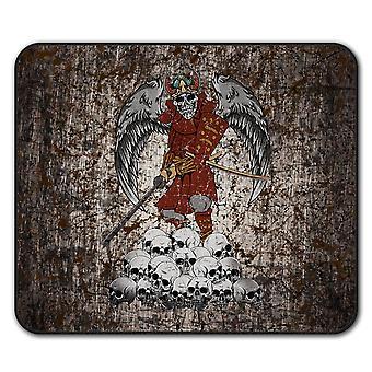 Katana esqueleto cráneo ratón antideslizante alfombra Pad 24 cm x 20 cm | Wellcoda