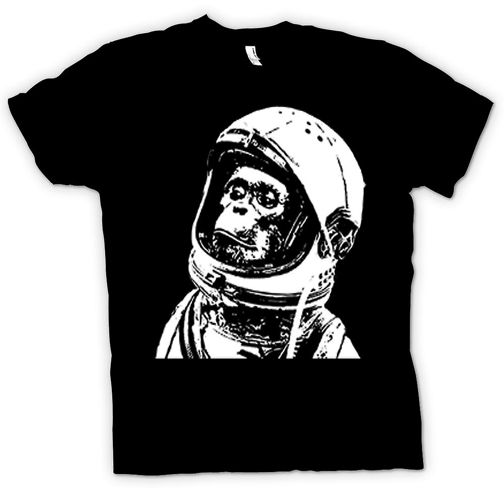Womens T-shirt - Space Monkey Black & White Drawing