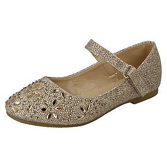 Meisjes plek op haak & lus Bar riem Diamante ballerina's H2484 - gouden Glitter - UK maat 10 - EU grootte 28 - US maat 11