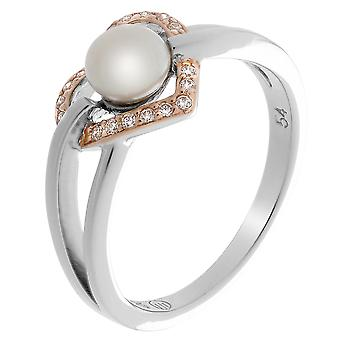Orphelia Silver 925 Ring Heart Fresh Water Pearl  Zirconium   ZR-7233