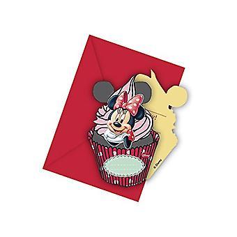 Einladung Invitations Einladungskarte Minnie Kinderparty Geburtstag 6 Stück