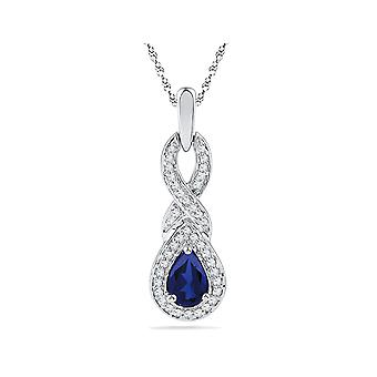 Lab Created Blue Sapphire 1/2 Carat (ctw) Infinity Pendant Necklace in 10K White Gold with Diamonds 1/8 Carat (ctw)