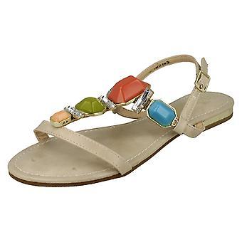 Womens Beige Flat Sandal Ankle Strap