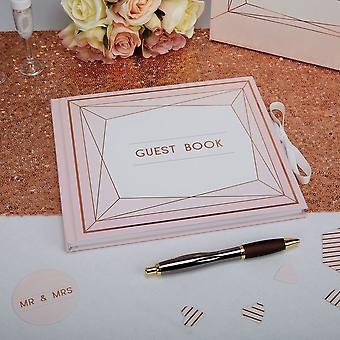 Geo Blush Guest Book Wedding