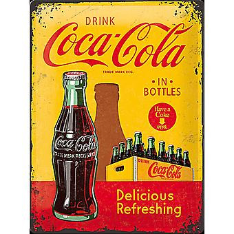 Coca Cola In Bottles (Crate) Large Embossed Steel Sign 400Mm X 300Mm