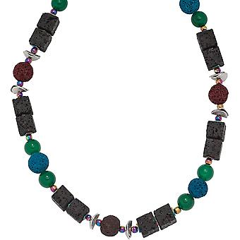 colorful gemstone gem necklace lava with agate and Hämatin 48 cm chain
