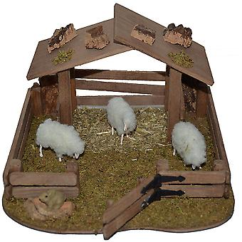 Animal barn wood with fur sheep for Christmas Nativity stable Nativity accessories