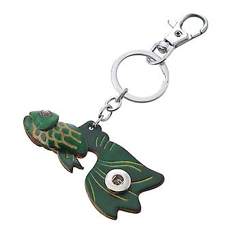 Leather keychain green fish for mini click buttons