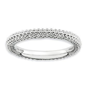 2,5 mm argent Sterling poli motif bombé bande rhodié empilable Expressions au dôme-Ring - Ring taille: 5 à 10