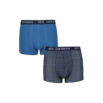 Ben Sherman Underwear Men's 2 Pack Boxer Trunk Shorts Navy French Blue Webster