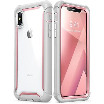 iPhone Xs Max Case,[Ares] Full-Body Rugged Clear Bumper Case with Built-in Screen Protector (2018 Release) (Pink)