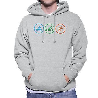 Triathlon Swim Cycle Run Icons Men's Hooded Sweatshirt