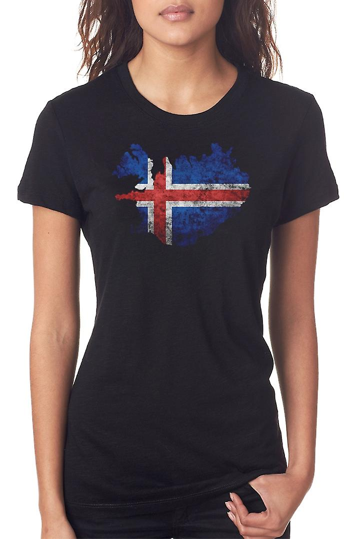 Iceland Icelandic Flag Map Ladies T Shirt