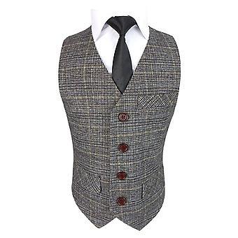 Romano Boys Gold Brown Tweed Waistcoat