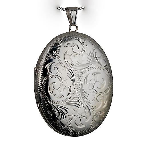 Sliver 45x35mm hand engraved oval Locket with Curb chain