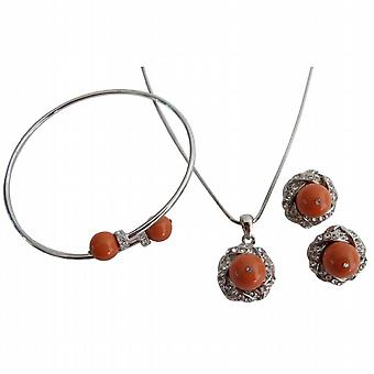 Coral Pearl Pendant Necklace Earring Bracelet Mother's Gift Jewelry