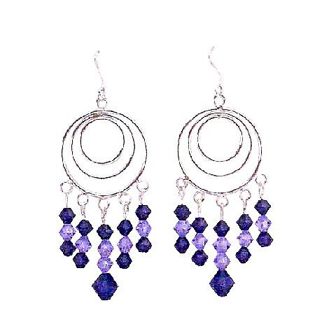 Violet Crystals Purple Velvet Chandelier Multi Round Hook Earrings