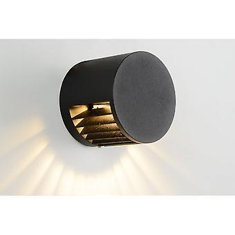 Lucide Umfang moderne Runde Aluminium schwarz Wandleuchte
