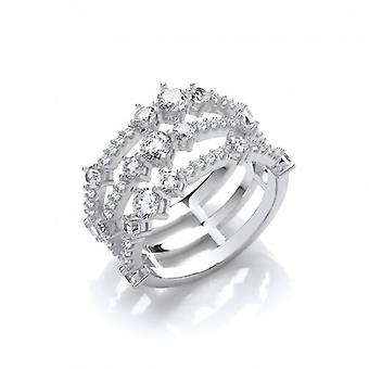 Cavendish French Silver and CZ Triple Strand Retro Ring