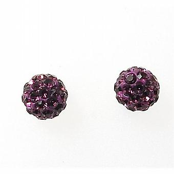TOC Girls Sterling Silver Purple Crystal Disco Ball Stud Earrings 6mm