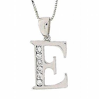 TOC Sterling Silver Clear CZ Set Initial 'E' Pendant Necklace 18