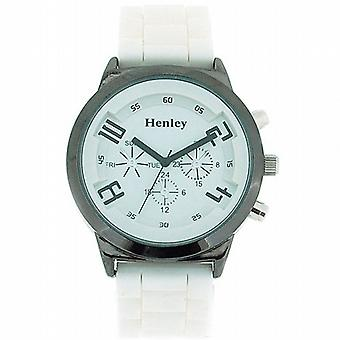 Henley Glamour Chrono Effect White Silicone Strap Ladies Watch H0882.3