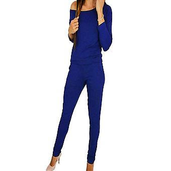 Womens chic casual off shoulder long sleeve jumpsuit playsuit casual