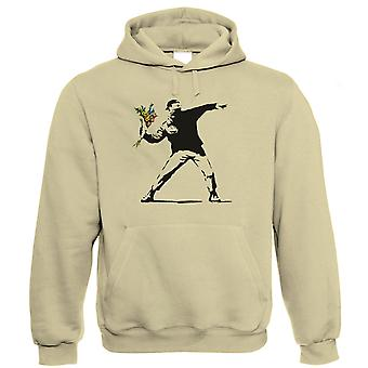 Banksy Flower Thrower Hoodie | Banksy Graffiti Urban Style Stencil Spray Paint | Art Politics Political Pop Culture Painter | Banksy Gift Him Her Birthday